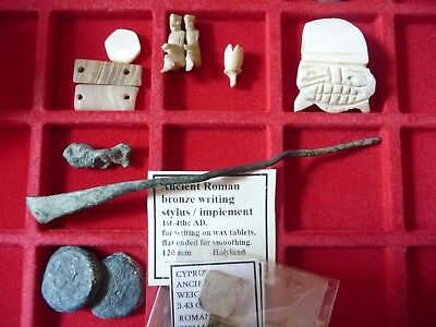 Ancient Greek and Roman artifacts, bronze writing stylus, & uncertain