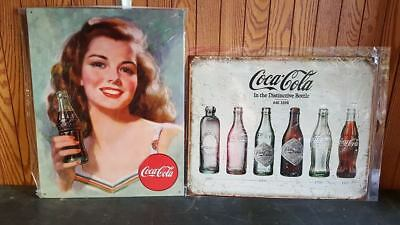 COCA-COLA LADY & BOTTLES 2 TOTAL Metal Tin Signs ON SALE  New  USA