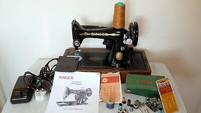 Heavy Duty Singer 99K Electric Sewing Machine, sews Leather, Serviced & PAT test