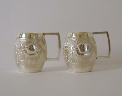 A Pair Of Good Quality Indian Sterling Silver Tankard Shaped Spirit Shot Cups