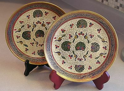 Solid Brass Wall Plates / Trays Enameled with Peacocks and Florals