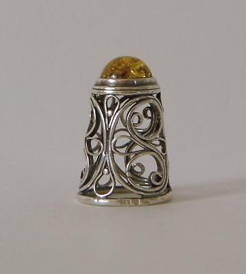 An Unusual Vintage Sterling Silver & Amber Thimble