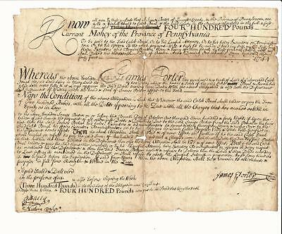 1744 Nicely Penned Colonial Obligation Bond Pennsylvania