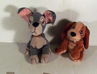 "6"" LADY & THE TRAMP - 2 x BEAN SOFT TOY DOG"