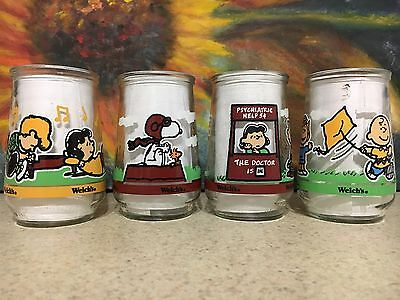 """Welch's Jelly Glasses Set Of Four """"Peanuts Comic Classics"""" Free S/H."""