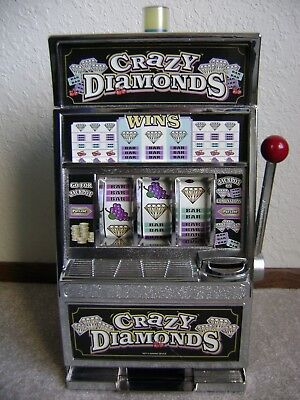 "Crazy Diamonds Slot Machine Coins 14"" X 8"" X 6"" Table Top Bank Works Great Used"