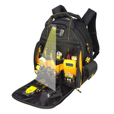 DeWalt DGL523 Lighted Tool Backpack Bag 57-Pockets New