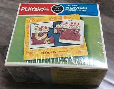 1972 Playskool Animal Homes Match-Ups SEALED in Box Bilingual English French 24