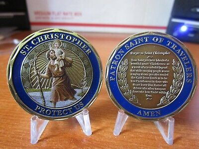 Patron Saint of Travelers Prayer Protect Us ST. Christopher Challenge Coin
