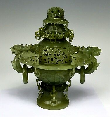 Extraordinary Chinese Carved Jade Urn w/ Ring Handles, Bats & More