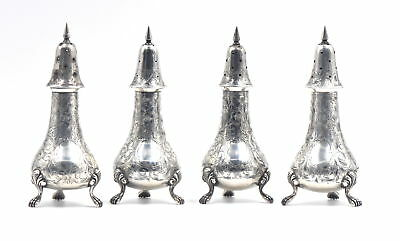 Victorian Sterling Silver Hand Engraved Footed Salt & Pepper Shakers No Monogram