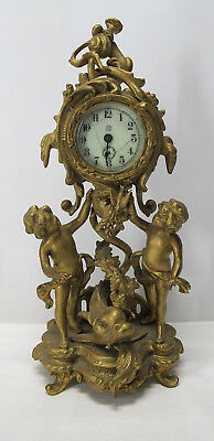 Antique Jennings Brothers Ornate Rococo Putti & Dolphin Gilt Mantle Clock  yqz