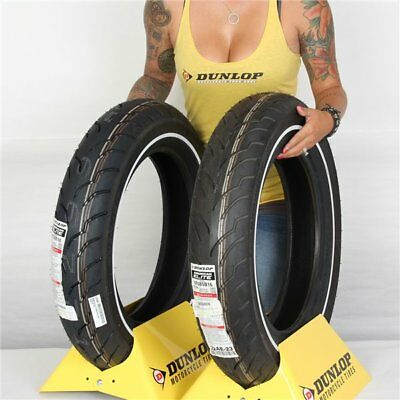 MT90B 16, MU85B 16 Dunlop American Elite Front & Rear Slim White Wall Tire Kit