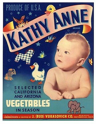 KATHY ANNE Vintage Watsonville, Baby *AN ORIGINAL VEGETABLE CRATE LABEL*