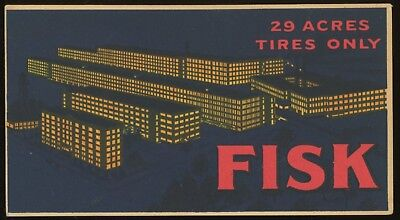 1910s  FISK TIRE  Vintage Advertising Post Card ~ 200 ACRES