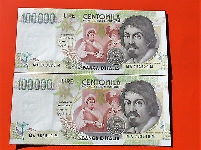 ITALY 1994  2x 100000 LIRE  P.117-a  UNC  RUNNING NUMBERS