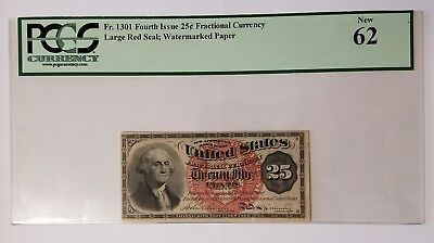 1863 25 Cents Fractional Currency Fourth Issue Fr# 1301 PCGS Uncirculated NEW 62