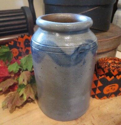 Early Antique Grey Stoneware Salt Glaze Small Jar Crock Pottery 6.75in x 4 wide