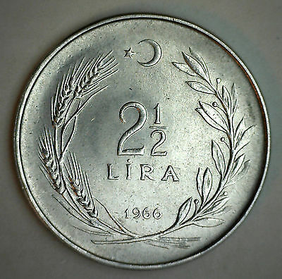 1966 Turkey 2.5 Lira Coin BU