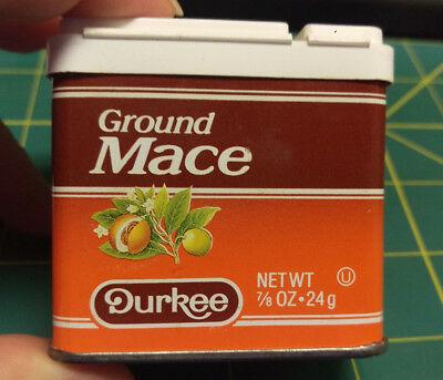 Vintage Durkee Ground Mace 7/8 oz spice tin  Great colors & graphics Plastic Lid