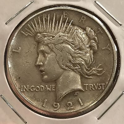 1921 $1 High Relief Peace Silver Dollar: Problem Free XF