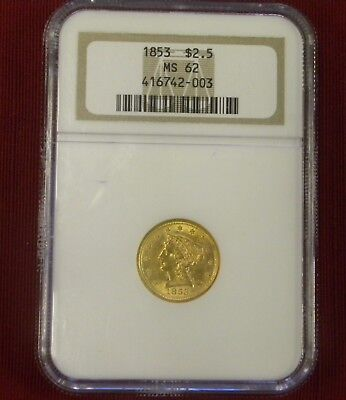 1853 Liberty $2.50 Gold Coin  Ngc Graded Ms62 Quarter Eagle
