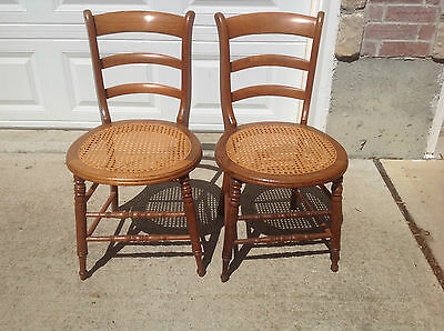 Pair of Antique Walnut Victorian Cane Bottom Chairs