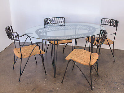 Salterini Woven Ribbon Chairs and Table Patio Set by Maurizio Tempestini