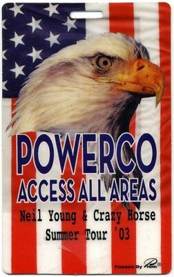 Neil Young authentic 2003 concert tour Laminated Backstage Pass Powerco AA