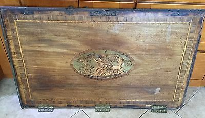 Antique Architectural Salvage Inlaid Wood Regency Or Georgian Chest Door, Top