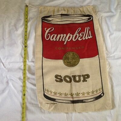 Vintage Campbell's Soup Advertising Laundry Bag Tote Sack Andy Warhol 60s70s