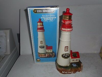 Ezra Brooks Maine Lighthouse Decanter with Box - Hand Decorted with 24K Gold
