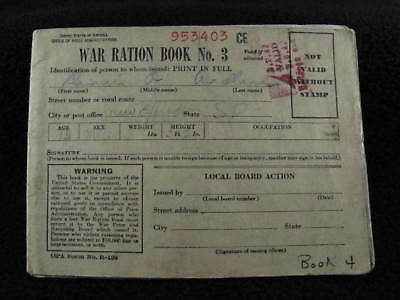 Vintage WAR RATION BOOK NO.3 Containing Ration Stamps & Extra ABCD Ration Stamps