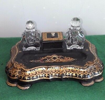 French papier-mache lacquer & cut glass inkwell 1900c