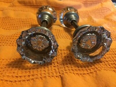 2 Vintage Antique-Victorian 12 Point Glass Door Knob Set-Nice Condition