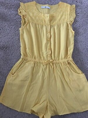 Marks And Spencer 9-10 Years Vintage Style Mustard Yellow Playsuit