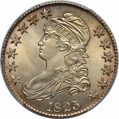 1825 Capped Bust Half Dollar - PCGS MS63 - Lustrous w/ Light Golden Patina