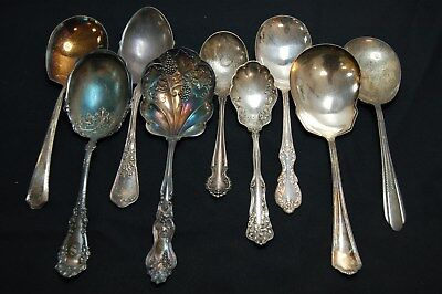 Lot of 9 Vintage Antique Ornate Silverplate Casserole Serving Server Spoons