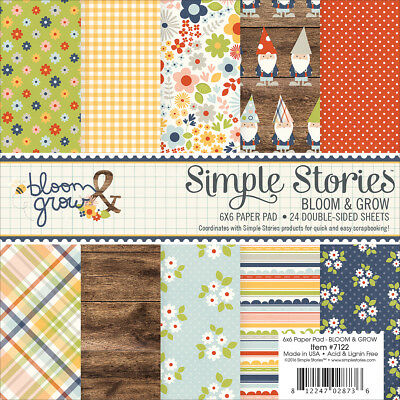 """Simple Stories DoubleSided Paper Pad 6X6"""" 24/PkgBloom & Grow, 12 Designs/2 Each"""