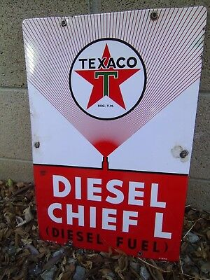 Texaco Diesel Chief L Porcelain Farm sign