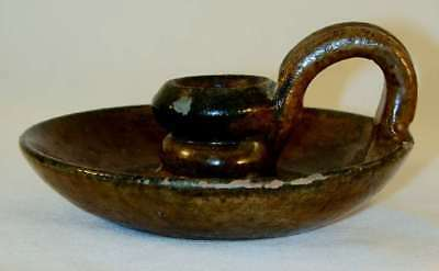 1941 Glazed Redware Chamber Candlestick Holder Applied Finger Loop Isaac Stahl
