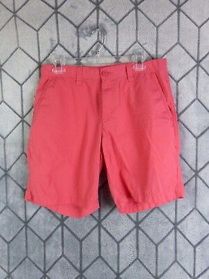 Columbia Men's Size 32 Coral Pink Flat Front Chino Shorts 100% Cotton Casual