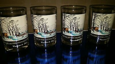 Vintage Currier and Ives Arby's Glasses  Set of 4  Winter In The Country