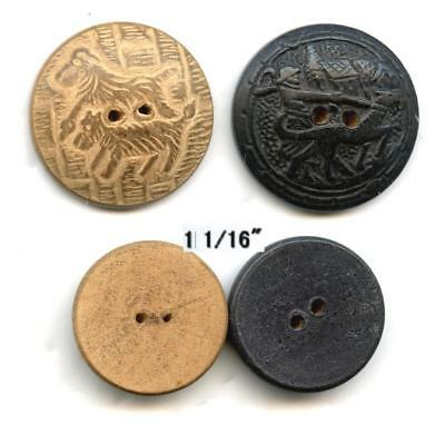 "1 1/8"" sew thru buttons WOOD SCOTTY & WOMAN WALKING A HOUND VINTAGE wearable art"