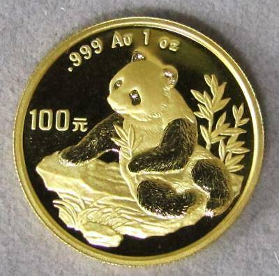 1998 China 100 Yuan .999 Fine Gold Panda-Sm. Date-1 oz., Gem BU.