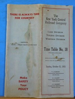 New York Central Railroad Company Employee Timetable #18 1965 Oct 31