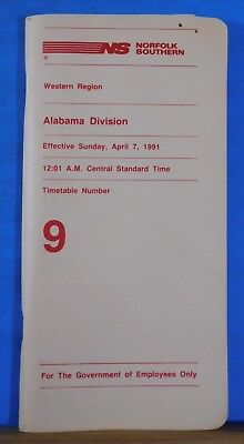 Norfolk and Southern Railway System Employee Timetable #9 Alabama Division 1991