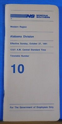 Norfolk and Southern Railway System Employee Timetable #10 Alabama Division 1991