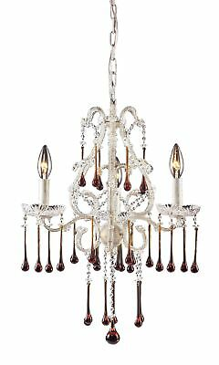 Elk 4001/3AMB 3-Light Chandelier In Antique White and Amber Crystal