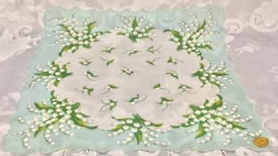 "Rare Lovely ""lily Of The Valley"" Hanky~13"" Swiss Ctn~Pstl Grn~ Vintage~Mwmt~Lqqk"